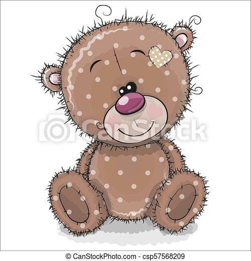 Cute Cartoon Teddy Bear on a white background - csp57568209