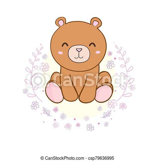 Cute cartoon Teddy bear, vector illustration - csp79636995
