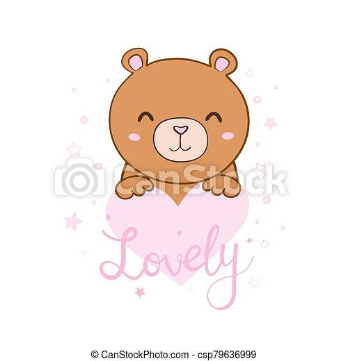 Cute cartoon Teddy bear, vector illustration - csp79636999