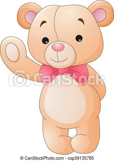 Cute cartoon teddy bear waving - csp39135785