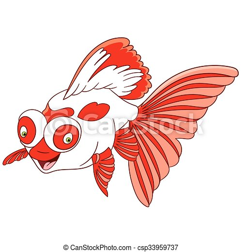 cute cartoon telescope goldfish - csp33959737