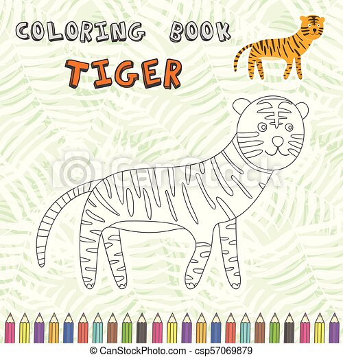 Cute Cartoon Tiger Silhouette For Coloring Book