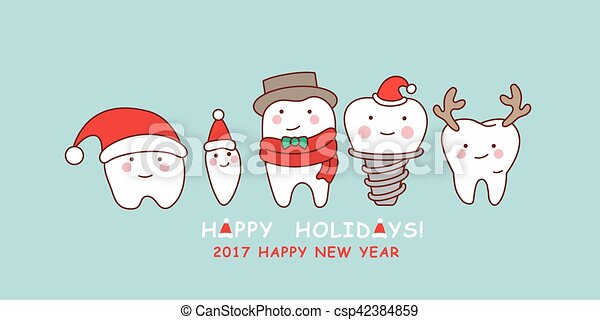 Cute cartoon tooth celebrate christmas. Happy cute cartoon tooth ...