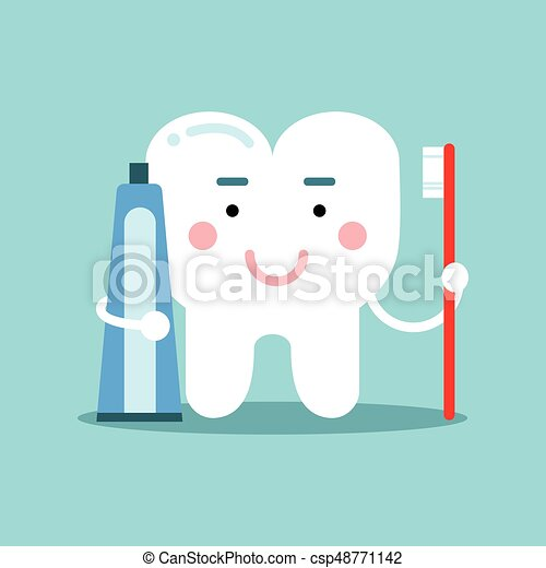 Cute cartoon tooth character brushing with toothpaste, dental vector Illustration for kids - csp48771142