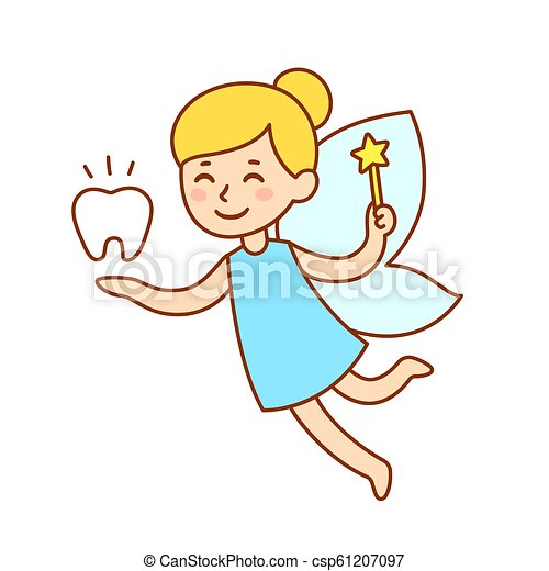 Cute Cartoon Tooth Fairy Cute Little Tooth Fairy With Wings Magic Wand And A Tooth Isolated Cartoon Vector Clip Art