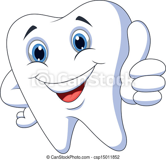 Cute cartoon tooth with thumb up  - csp15011852