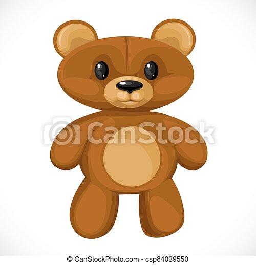 Cute cartoon toy teddy bear isolated on white background - csp84039550
