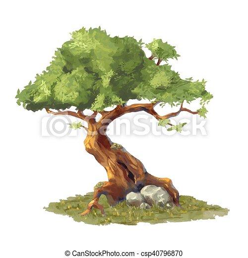 Cute cartoon tree on grass, game art element - csp40796870