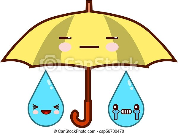 Cute cartoon umbrella with face. Rainfall. Emoji isolated on white background Flat design Vector Illustration - csp56700470