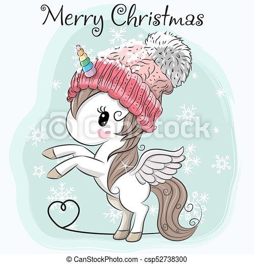 Greeting Christmas Card Cute Cartoon Unicorn In A Hat