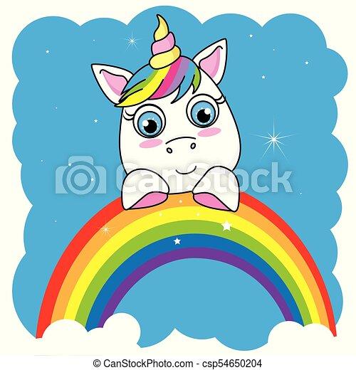 Cute cartoon unicorn on a rainbow - csp54650204
