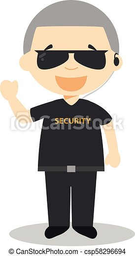 cute cartoon vector illustration of a security guard