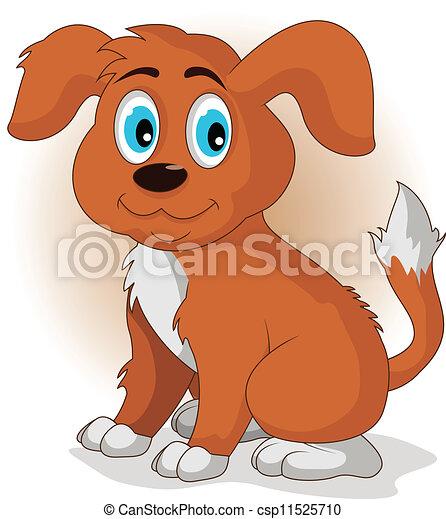 Cute cartoon vector puppy dog  - csp11525710