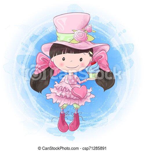 Cute cartoon woman hand drawing. Vector illustration - csp71285891