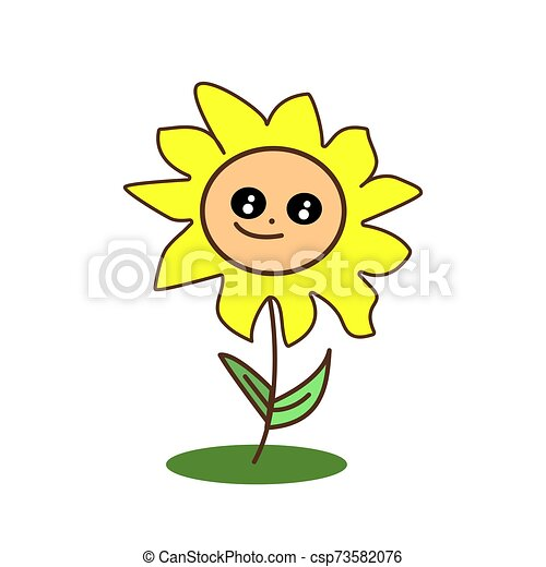 Cute Cartoon Yellow Kawaii Sunflower With Big Eyes Smiling Flat