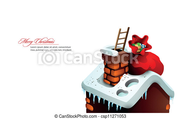 cute, casa, claus, saudação, santa, escondido, natal, chaminé - csp11271053