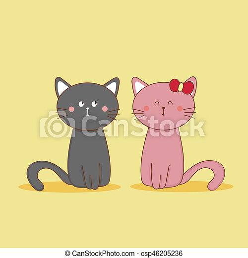 a2f210f9575 Cute cat couple in yellow background.