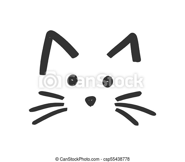 cute cat face icon vector illustration