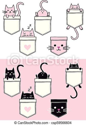Cute cat in a pocket, vector set - csp59566604