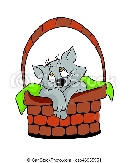 cute cat in a wicker basket cartoon vector illustration clipart rh canstockphoto com cute cat clipart png cute kitty clipart