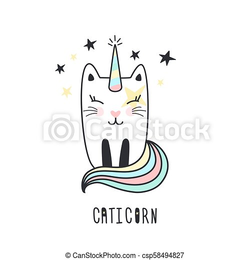 Cute cat unicorn hand drawn. - csp58494827