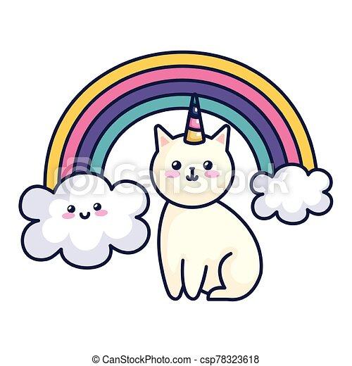 cute cat unicorn with rainbow kawaii style icon - csp78323618