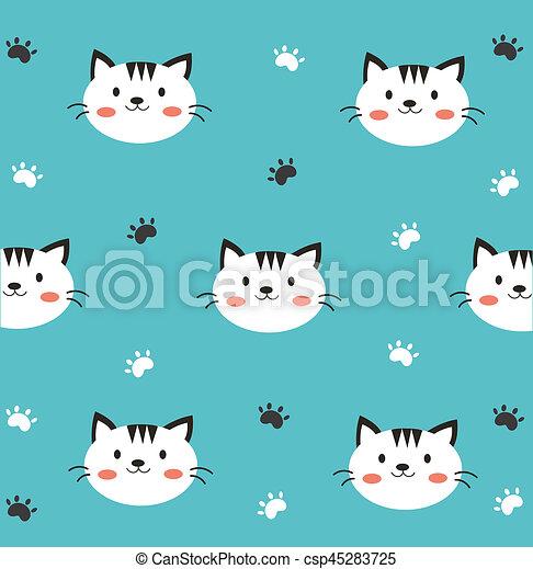 Cute Cat Wallpaper In Blue Background