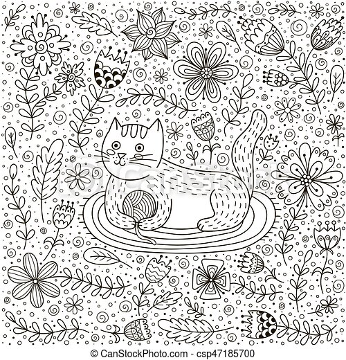 Cute cat with a ball of yarn and doodle flowers