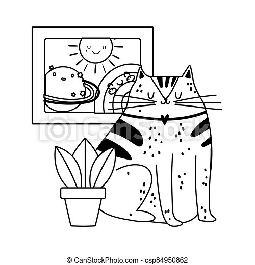 cute cat with plant and drawing rainbow decoration isolated icon line style - csp84950862