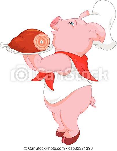cute chef pig cartoon - csp32371390
