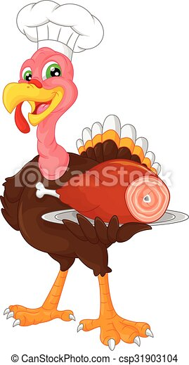 cute chef turkey bird cartoon - csp31903104