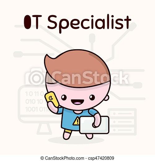 Cute chibi kawaii characters. Alphabet professions. Letter I - IT-Specialist - csp47420809