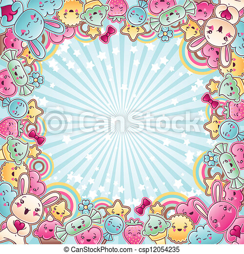 Cute child background with kawaii doodles. - csp12054235