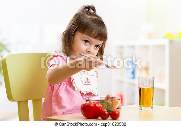 Cute Child Boy Eats Healthy Food Vegetables Csp31620582