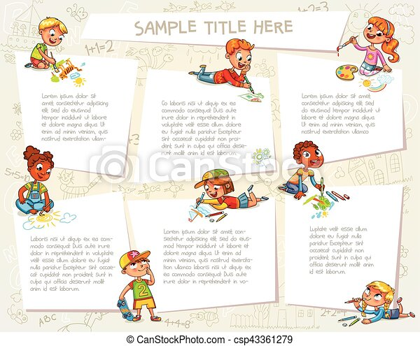 Cute children drawing pictures together - csp43361279