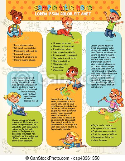 Cute children paint picture together - csp43361350