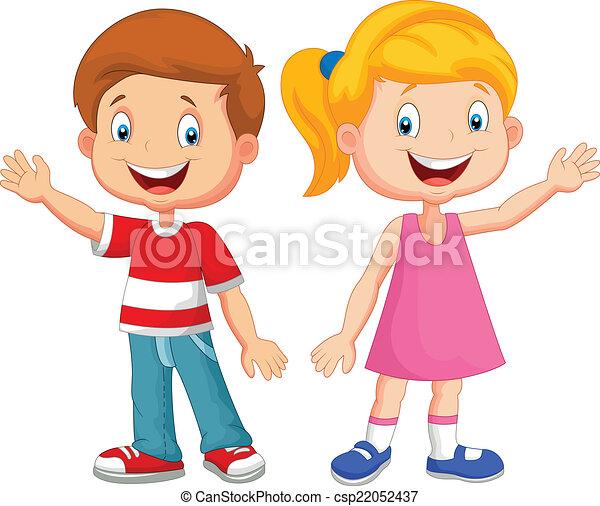 vector illustration of cute children waving hand rh canstockphoto com waving bye clip art girl waving clip art