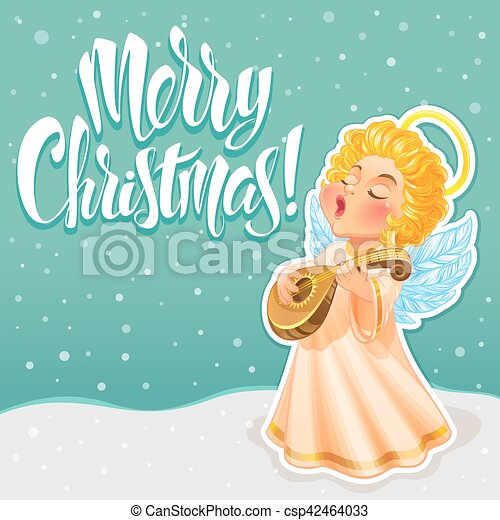 Vector illustration cute christmas angel in a long light dress he vector illustration cute christmas angel in a long light dress he sings a song and playing lute beautiful christmas greeting card m4hsunfo