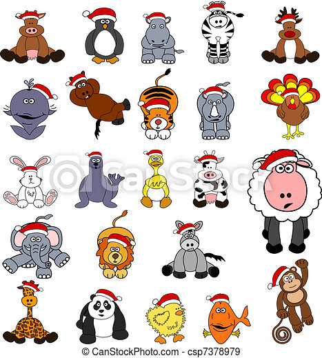 Cute christmas animal set . Set of 23 cute cartoon animals with ...