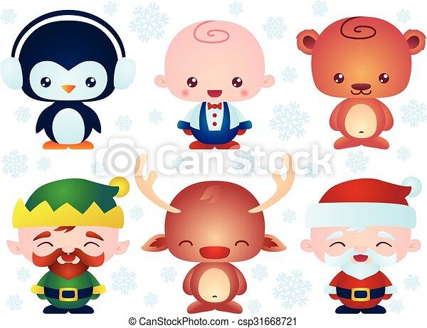 Cute Christmas Clip Art.Cute Christmas Baby Characters