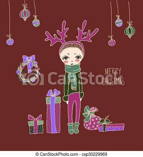 d77f783c5bf71 Cute christmas card bright holiday background with small funny angel ...
