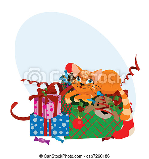 cute christmas cat vector illustration clip art vector search rh canstockphoto com christmas cat clipart free christmas cat clipart