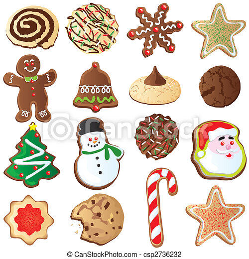 big set of cute christmas cookies isolated on white rh canstockphoto com christmas sugar cookies clipart christmas cookies clipart black and white