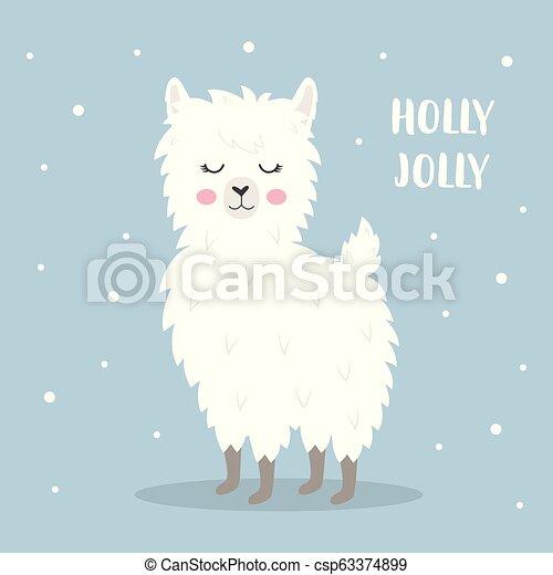 Christmas Llama.Cute Christmas Llama