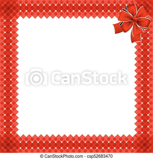 cute christmas or new year border with red wicker pattern wrapped with red ribbon in the corner vector illustration festive frame template with space for