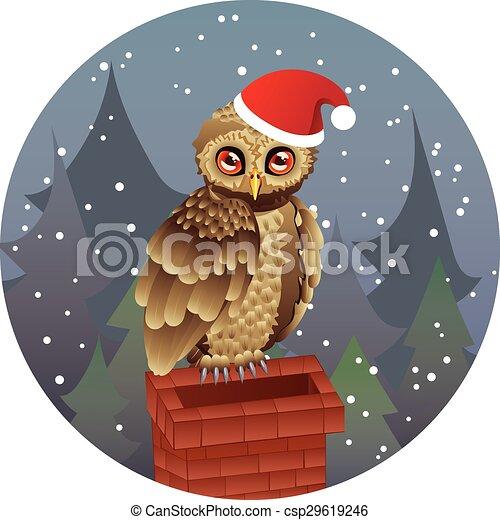 Christmas Owl.Cute Christmas Owl