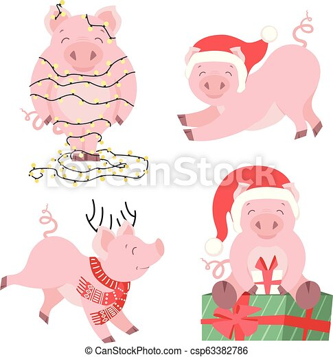 Christmas Pig.Cute Christmas Pig Set Winter Holiday Piggy Vector Illustration For Cards Isolated