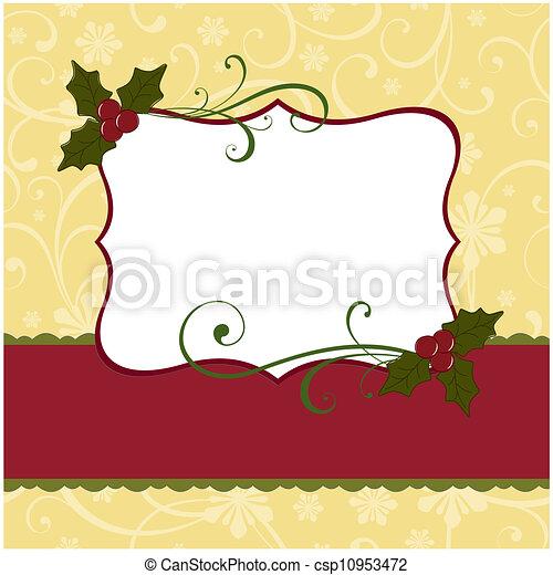 Cute christmas postcard template blank.
