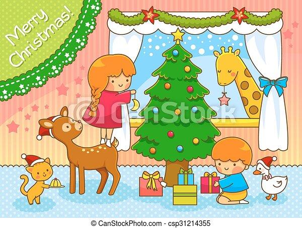 Christmas Scene Drawing For Kids.Cute Christmas Scene