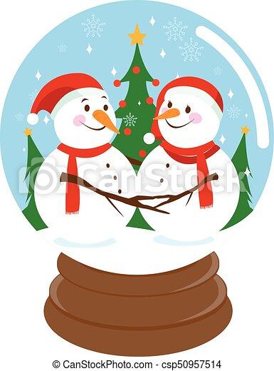 cute christmas snowmen inside a snow globe cute snowmen in a rh canstockphoto com snowman snow globe clipart winter snow globe clipart